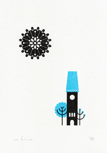 Somewhere Series Gocco Print - Clock Tower