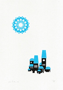 Somewhere Series Gocco Print - Town